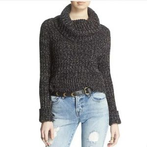 Free People Cable Marled Turtleneck Sweater (A7)